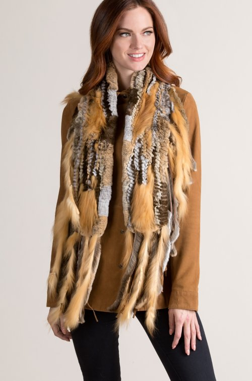 Rex Rabbit Fur Scarf with Silver Fox Fur Fringe