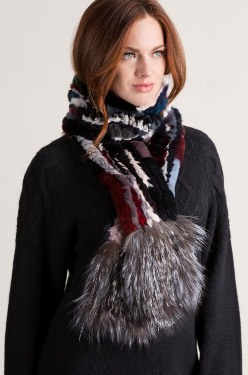Knitted Rex Rabbit Fur Scarf with Silver Fox Fur Fringe