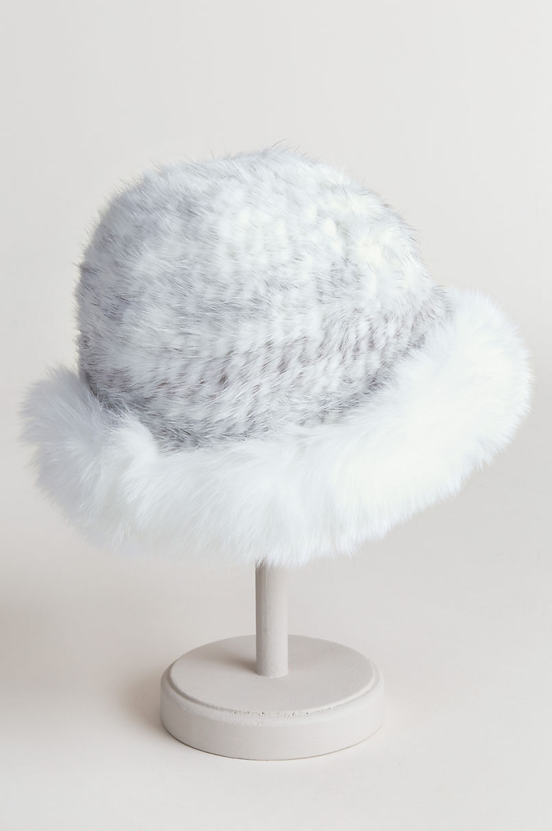 Knitted Danish Mink Fur Cloche Hat with Finnish Fox Fur Trim
