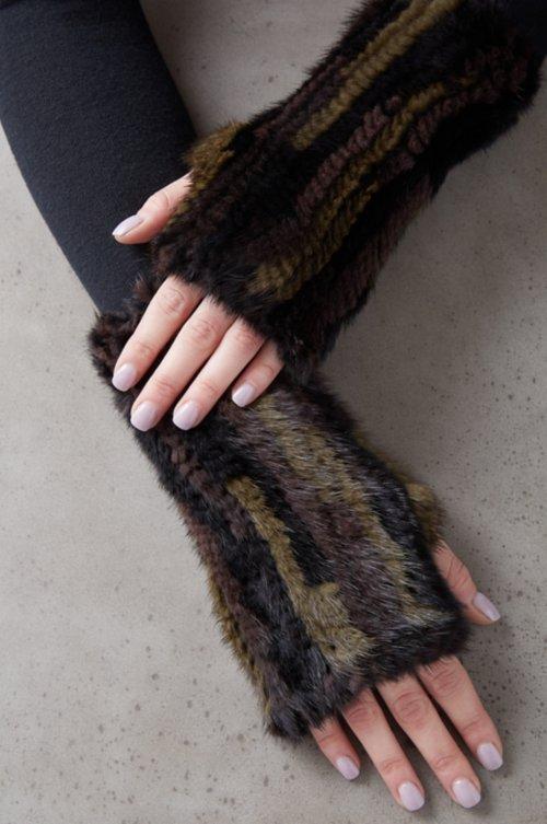Women's Holly Knitted Danish Mink Fur Fingerless Gloves