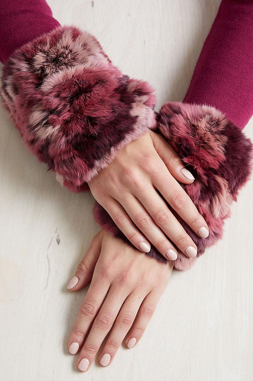 Women's Randa Knitted Rex Rabbit Fur Fingerless Gloves