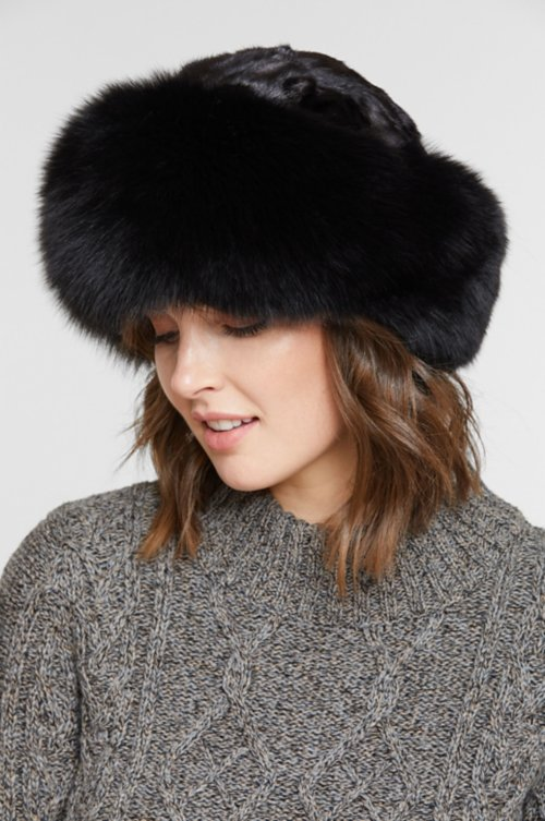 Sheared Mink Fur Cossack Hat with Fox Fur Trim