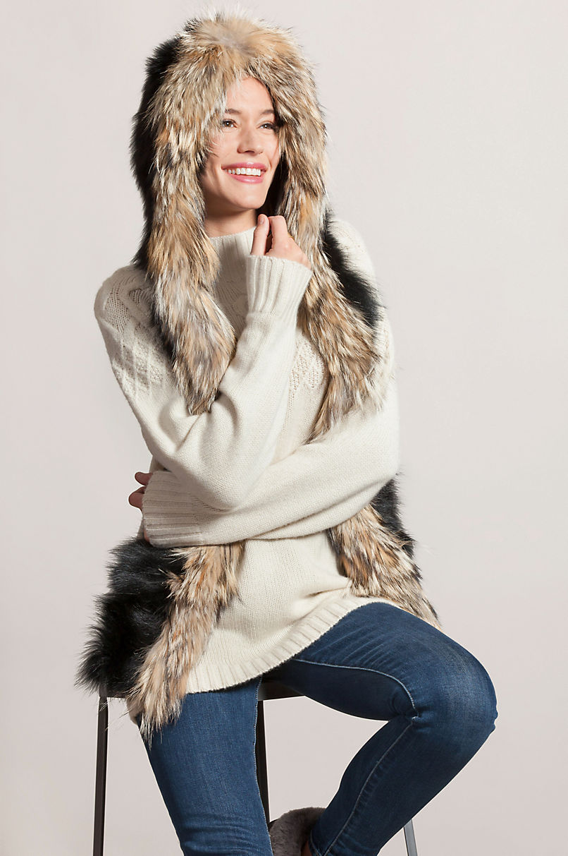 Fox Fur Hooded Scarf with Coyote Fur Trim