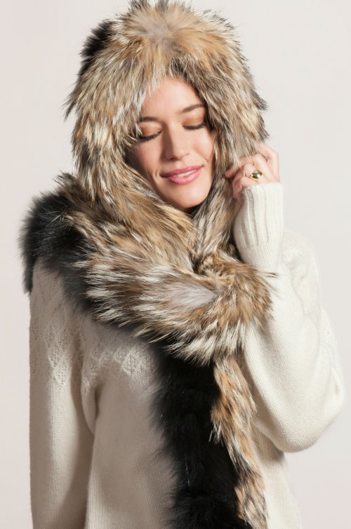 Fox Fur Hooded Scarf with Coyote Fur Trim