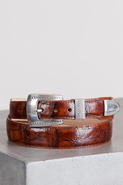 Croco Taper Leather Belt