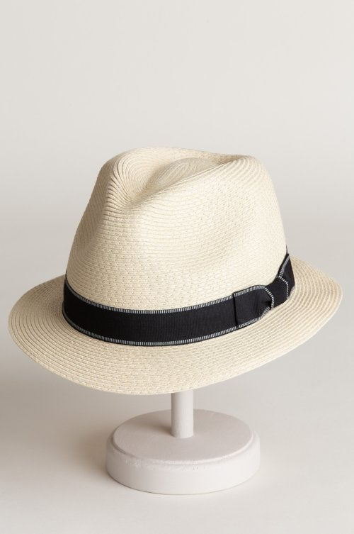 Coney Island Packable Paper Braid Fedora Hat with Grosgrain Hatband