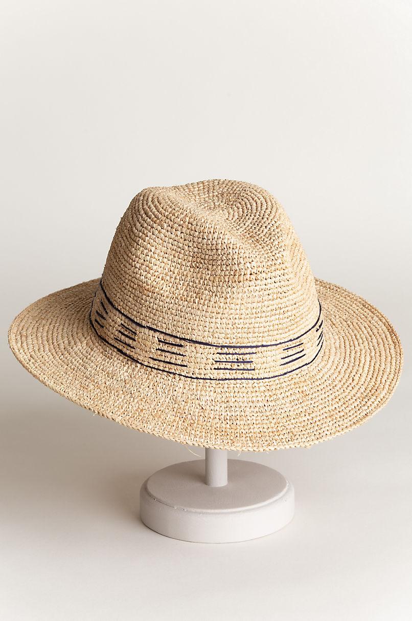 Palma Crocheted Raffia Fedora Hat