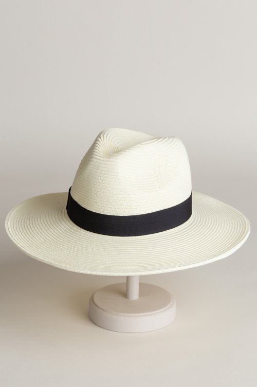 Edgewood Toyo Straw-Blend Fedora Hat with Grosgrain Hatband