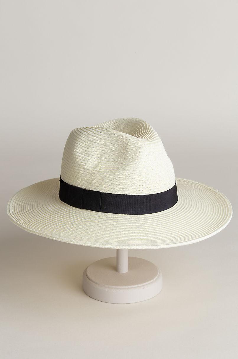 Edgewood Toyo Straw-Blend Fedora Hat with Grosgrain Hatband