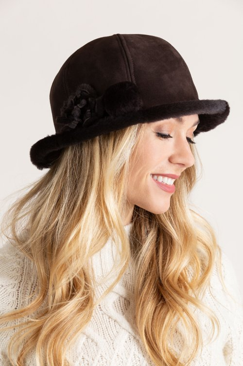 Women's Spanish Merino Sheepskin Cloche Hat with Flower & Pom