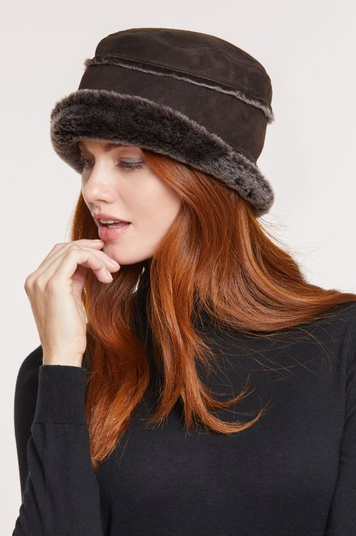Spanish Merino Sheepskin Cloche Hat