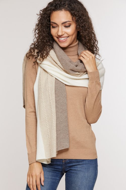 Tri-Color Knit Cashmere Wrap Scarf