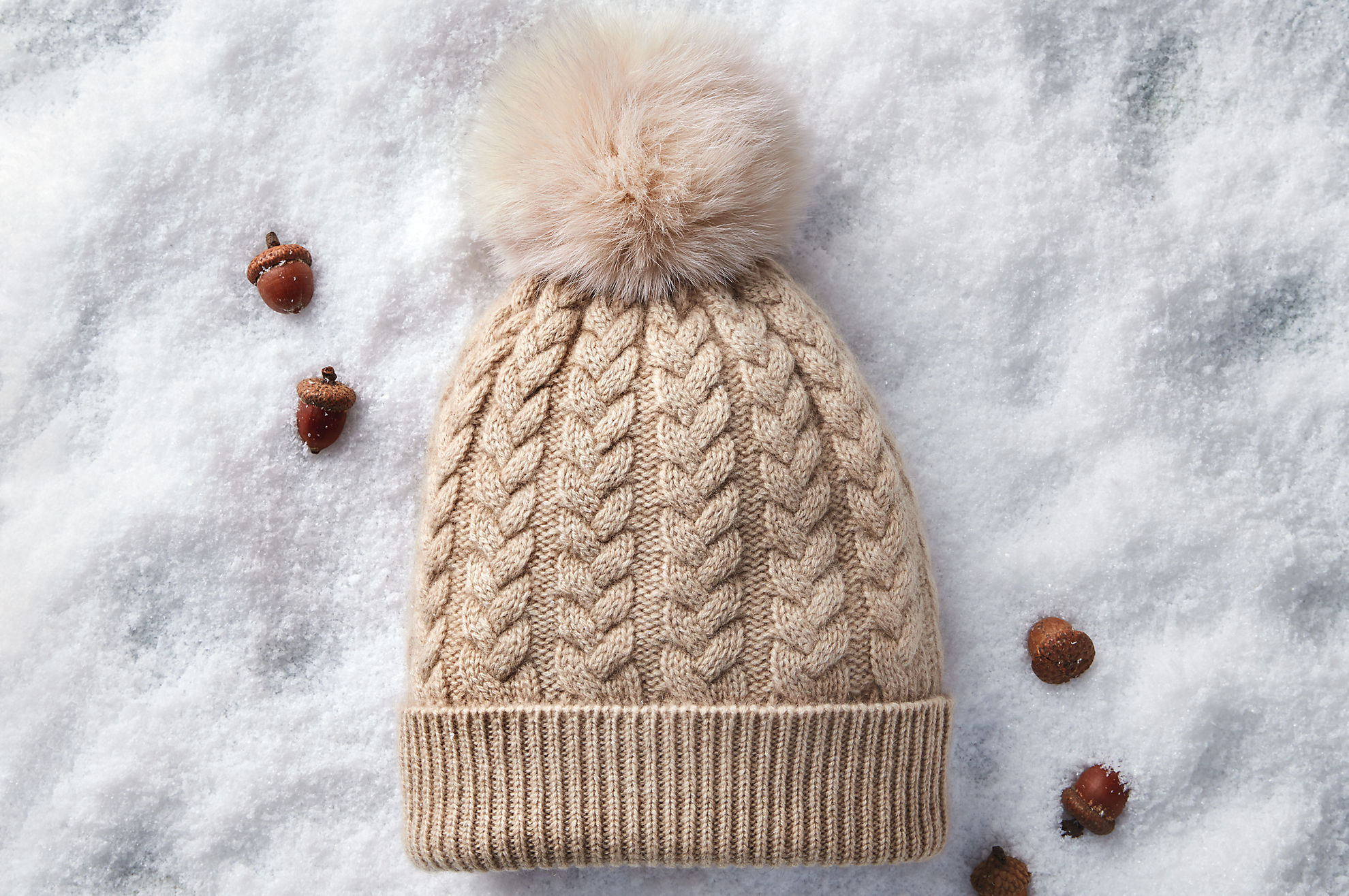Knit Cashmere Beanie Hat with Detachable Fox and Raccoon Fur Poms