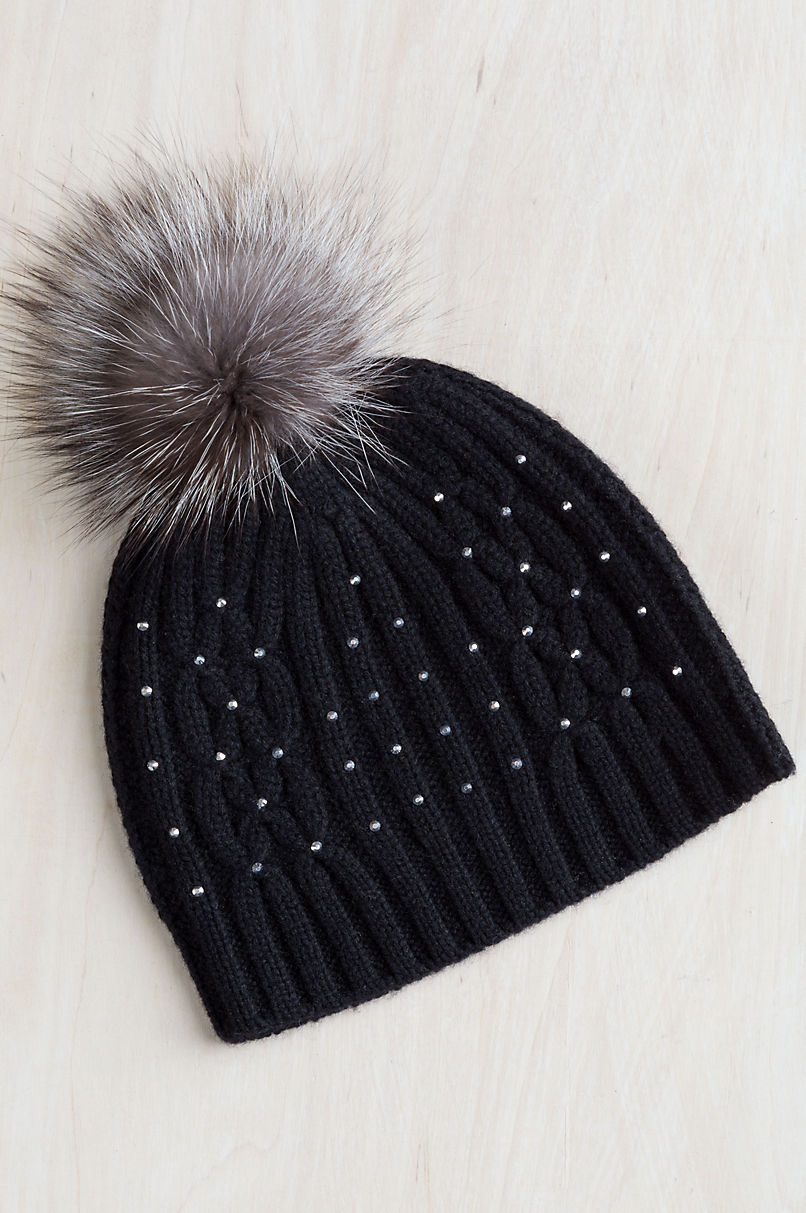 Knitted Cashmere Beanie Hat with Detachable Fox Fur Pom