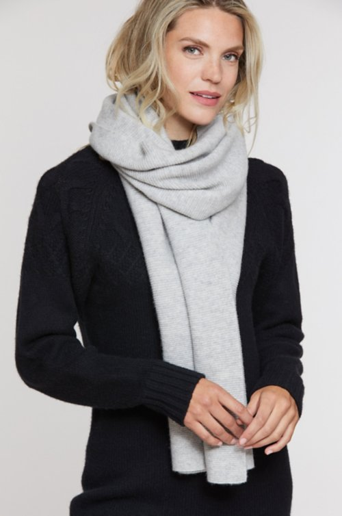 Textured Knit Cashmere Scarf