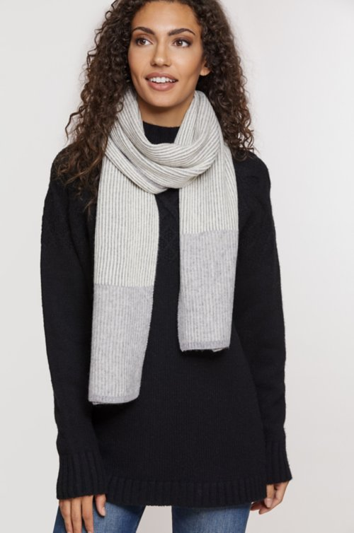 Birch Ribbed Knit Cashmere Scarf