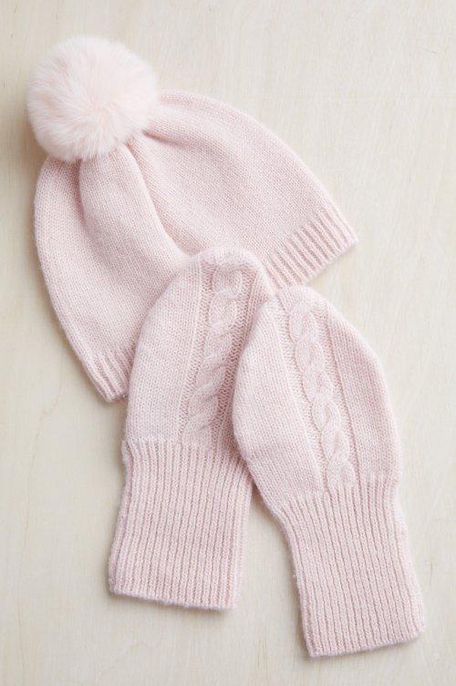 Baby Wool and Cashmere Beanie Hat & Mitten Set