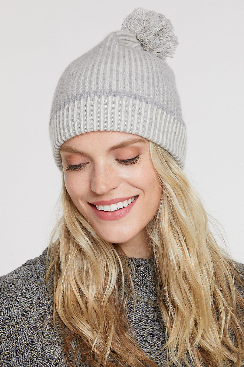 Birch Knitted Cashmere Beanie Hat with Pom