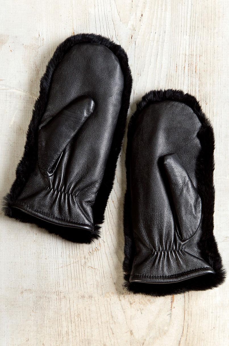 Women's Rex Rabbit Fur and Lambskin Leather Mittens