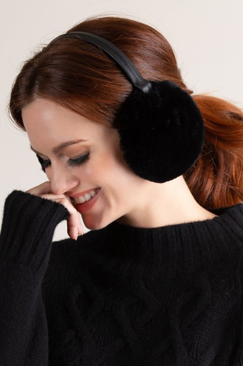 Rex Rabbit Fur and Lambskin Leather Earmuffs