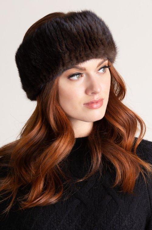 Knitted Finnish Mink Fur Headband