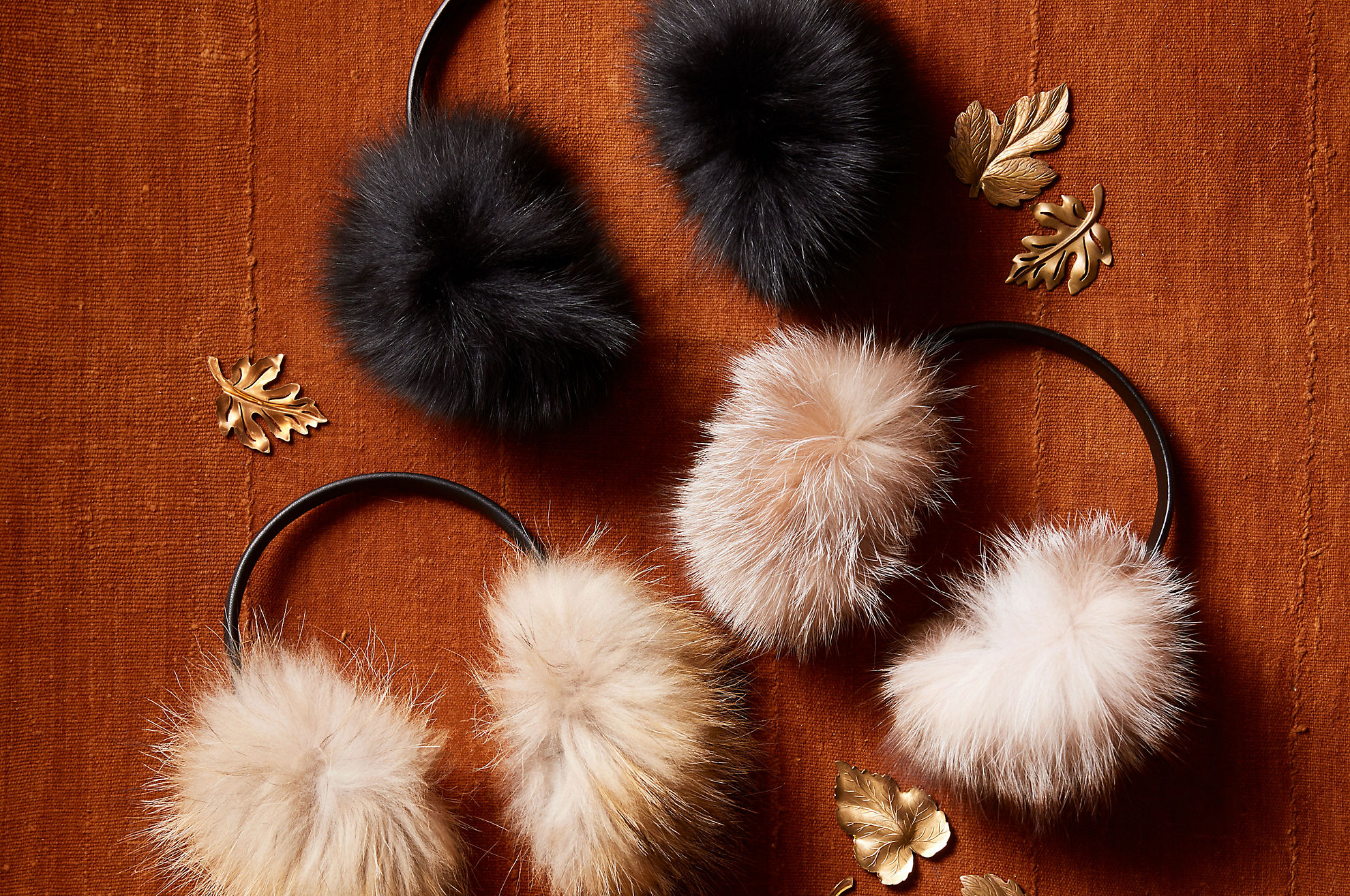Fox Fur and Lambskin Leather Earmuffs