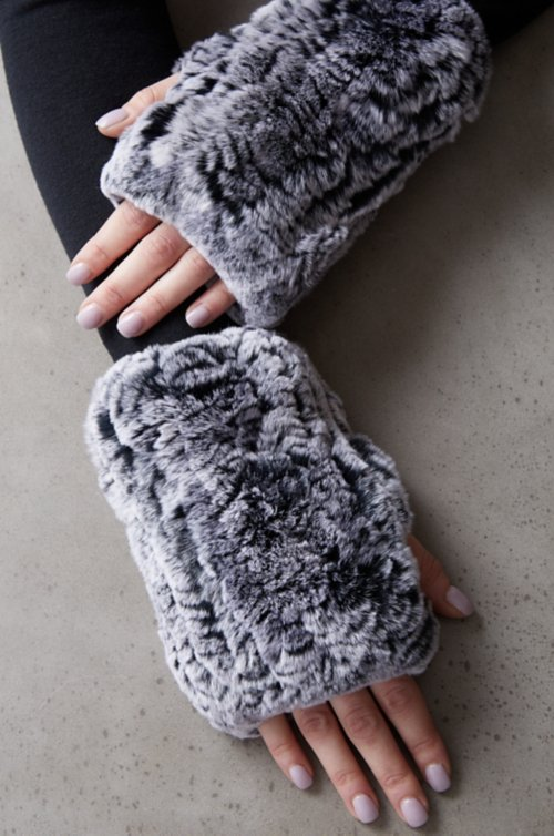 Women's Knitted Rex Rabbit Fur Fingerless Gloves