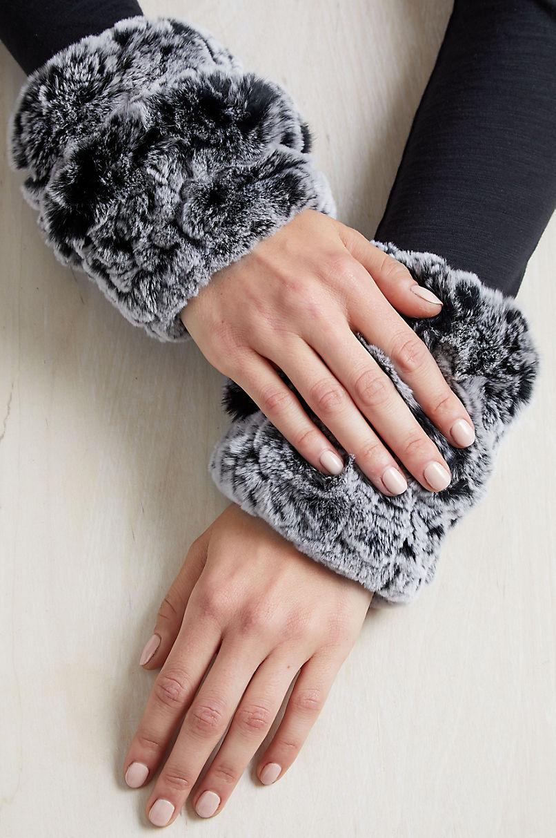 Women's Knitted Rex Rabbit Fur Fingerless Gloves