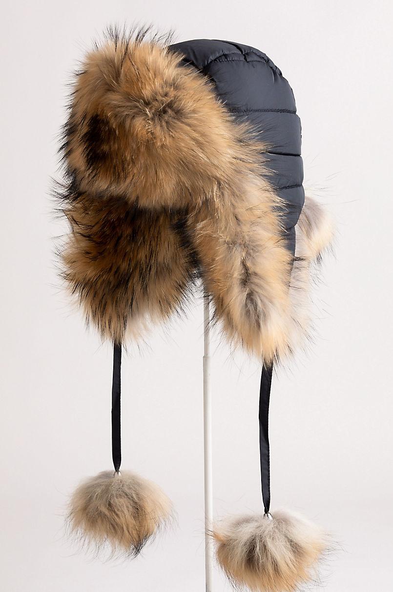 Oynx Trapper Hat with Raccoon Fur Trim