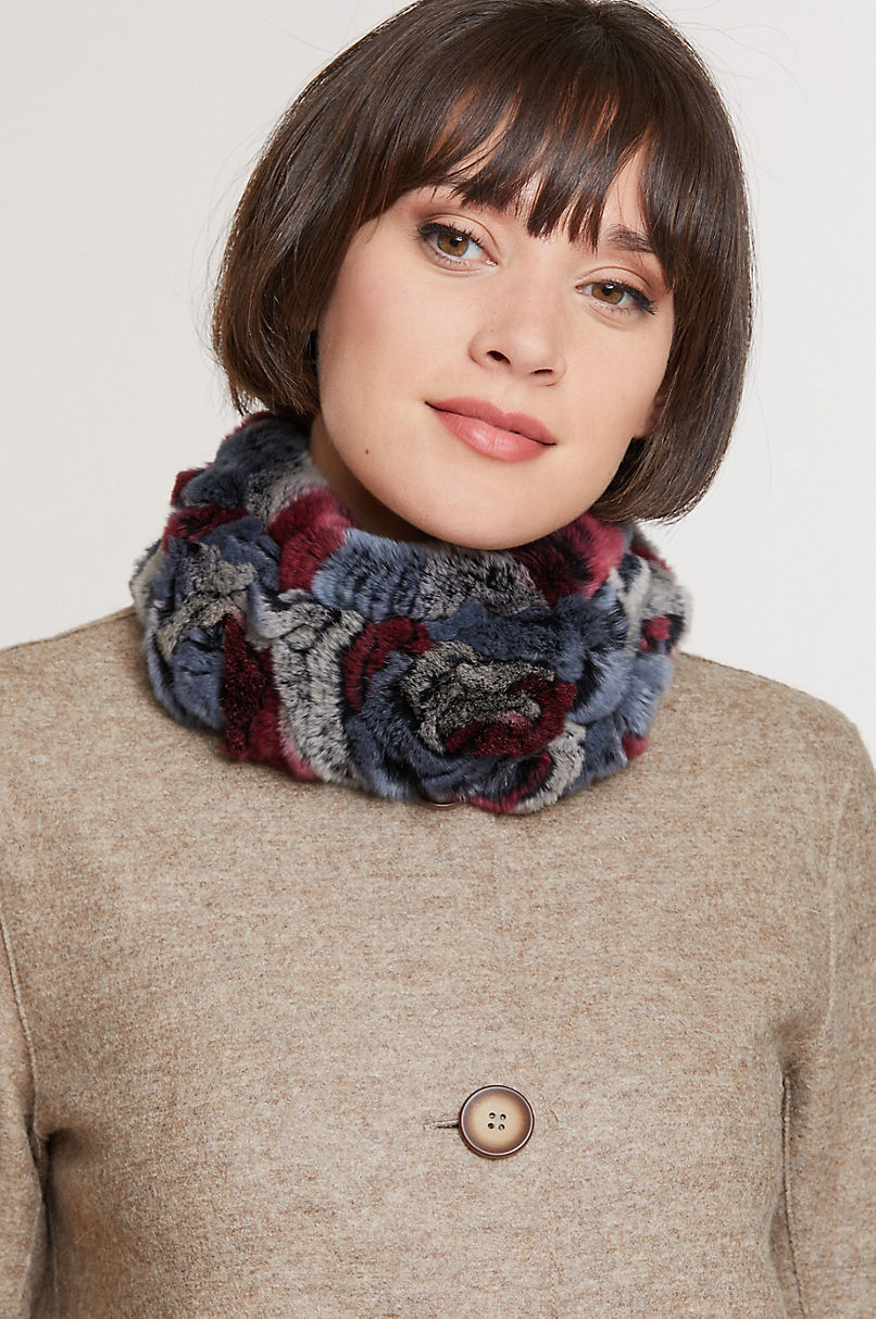 Knitted Rex Rabbit Fur Convertible Headband and Fur Collar