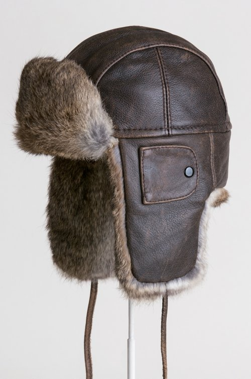 Vintage Leather Aviator Hat with Rabbit Fur Trim
