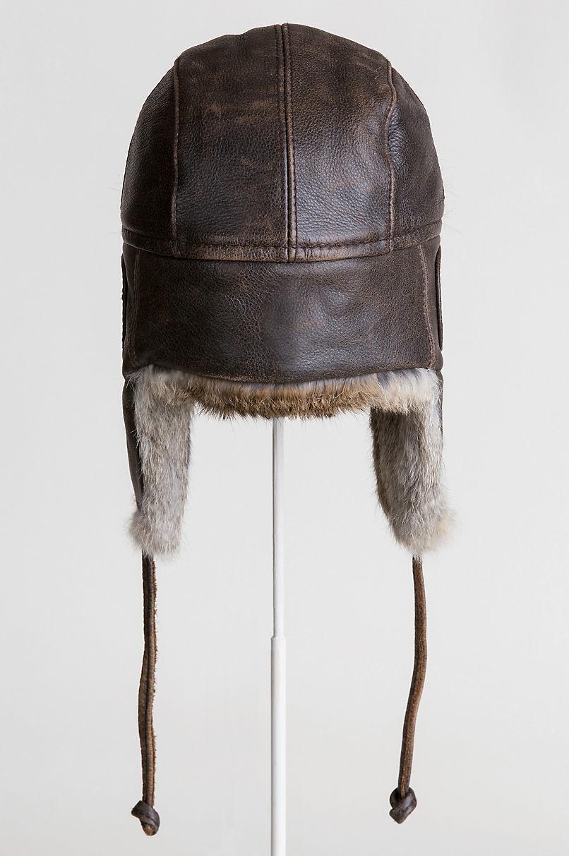 Vintage Leather Aviator Hat with Rabbit Fur Trim