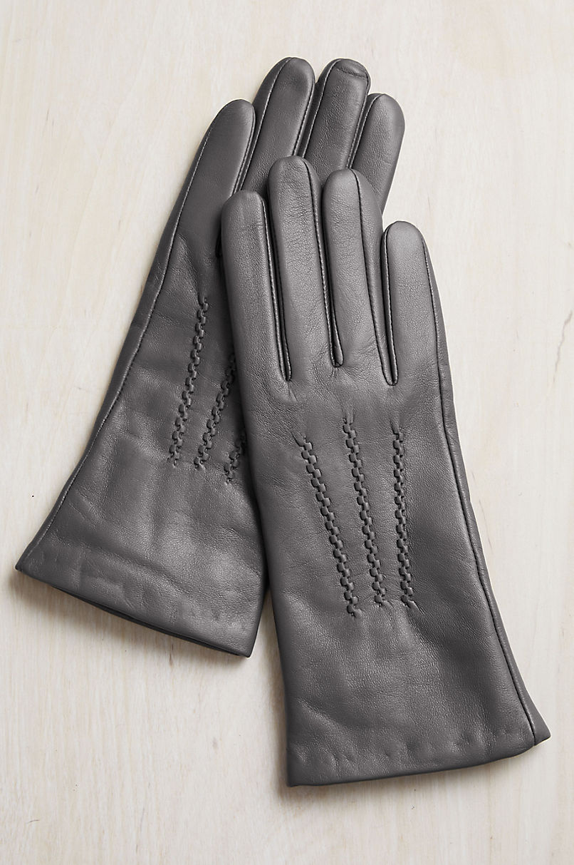 Women's Rosewood Cashmere-Lined Lambskin Leather Gloves