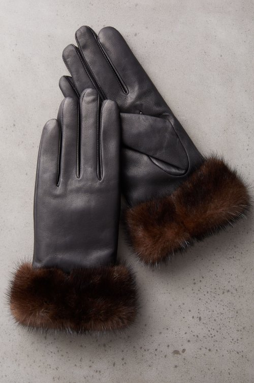 Women's Yvonne Cashmere-Lined Lambskin Leather Gloves with Mink Fur Trim