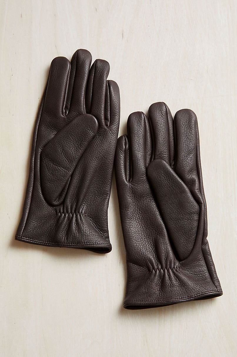 Men's Norfolk Cashmere-Lined Deerskin Leather Gloves