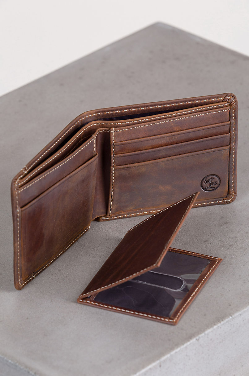 Western Classic Leather Billfold Wallet with Removable Passcase