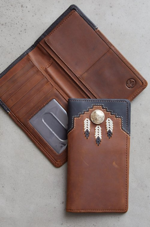 Chieftain Feather Leather Checkbook Wallet