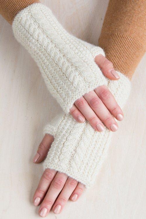 Women's Alder Cable Knit Peruvian Baby Alpaca Fingerless Gloves