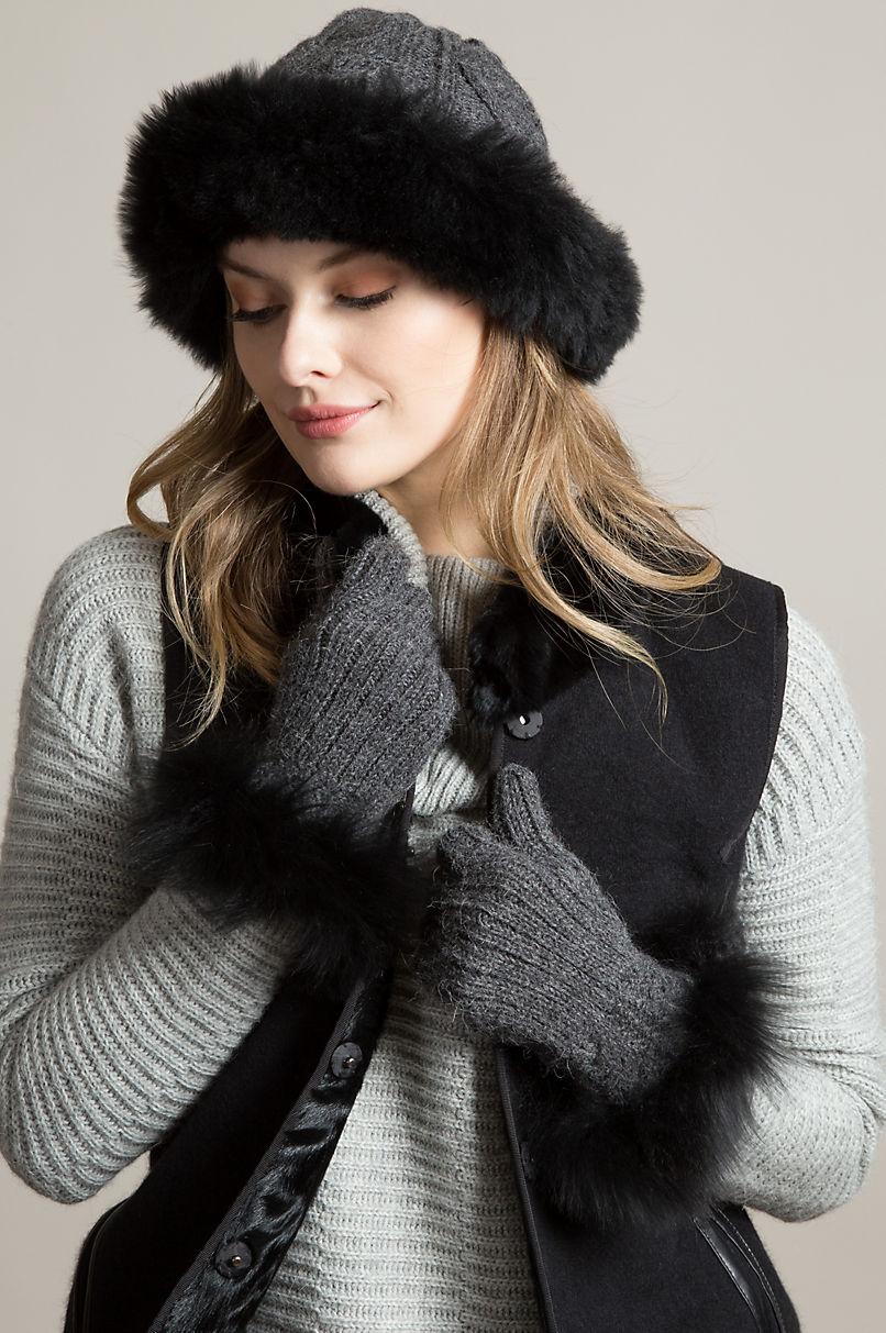 Women's Hibiscus Peruvian Baby Alpaca Wool Gloves with Alpaca Fur Trim