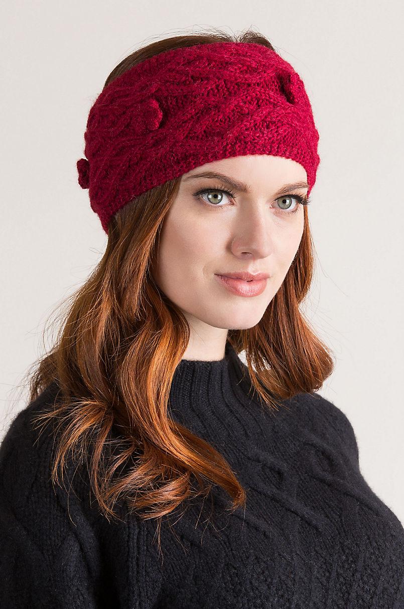 Alpaca ear warmer knit wool headband