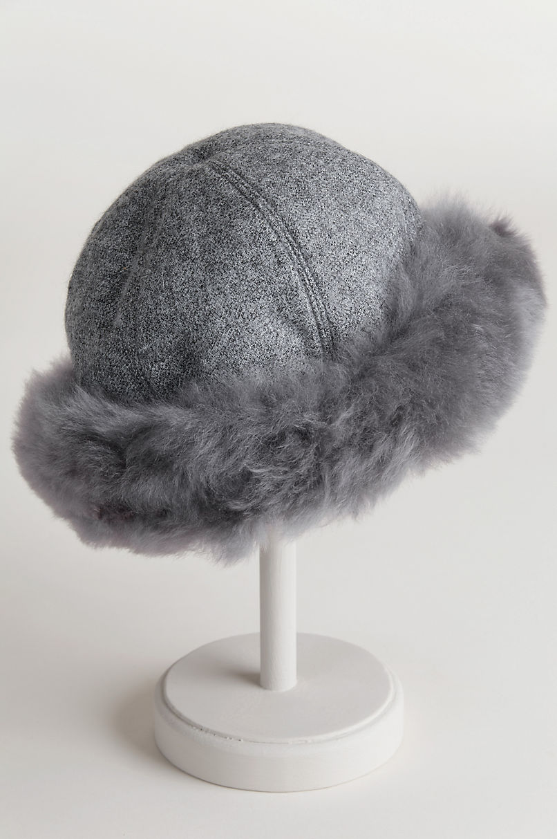Women's Royal Baby Alpaca Wool Cloche Hat with Baby Alpaca Fur Trim