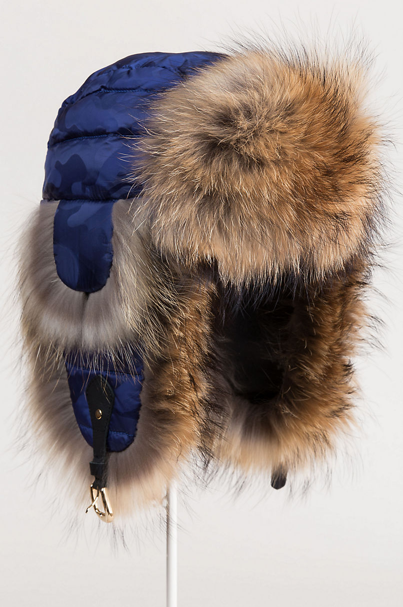 Sapphire Down-Filled Trapper Hat with Raccoon Fur Trim