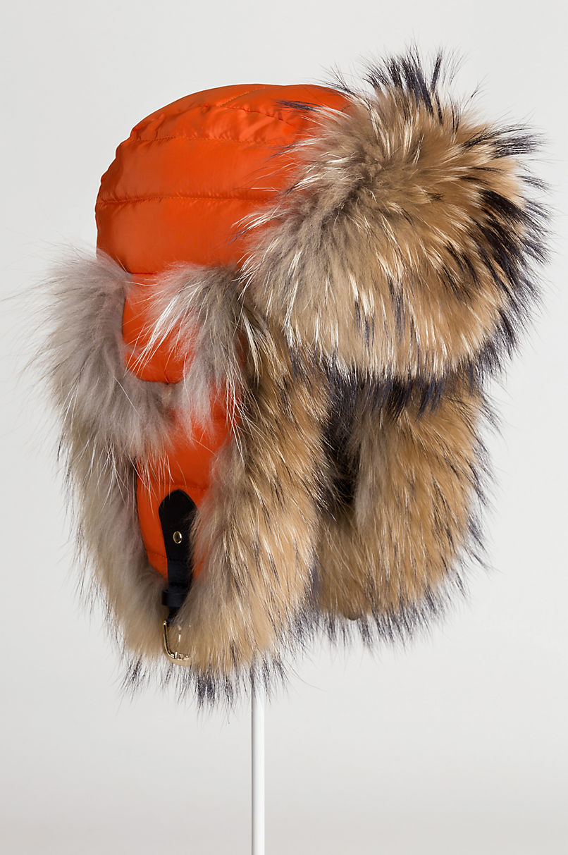 Orange Down-Filled Trapper Hat with Raccoon Fur Trim