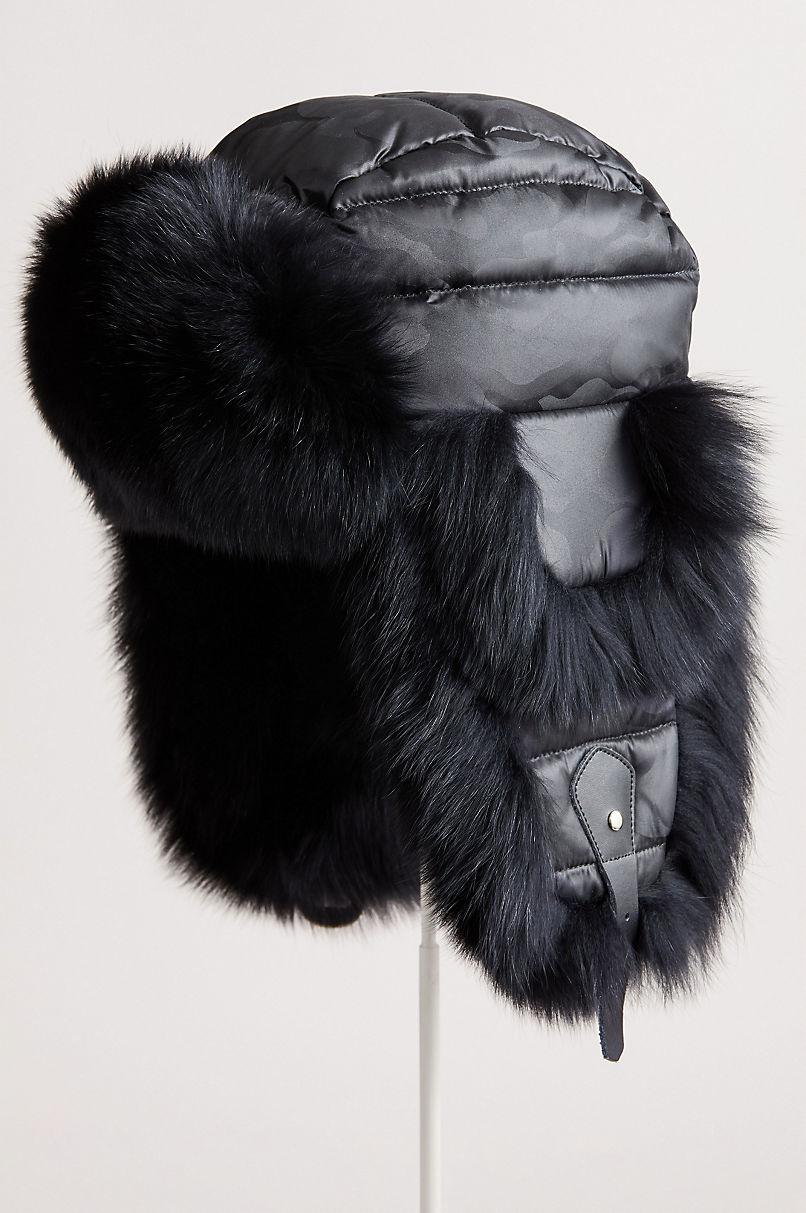 Ebony Down-Filled Trapper Hat with Fox Fur Trim
