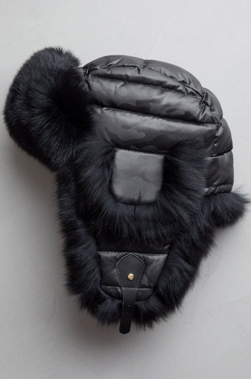 Ebony Down-Filled Trapper Hat with Fox Fur Trim