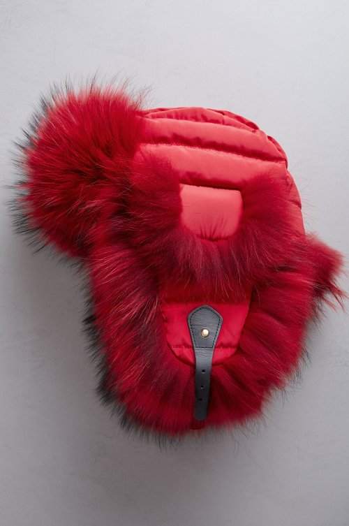 Ruby Down-Filled Trapper Hat with Raccoon Fur Trim