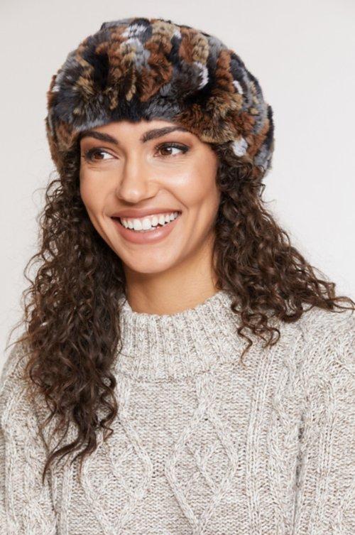 Knitted Rex Rabbit Fur Convertible Neck Warmer and Headband