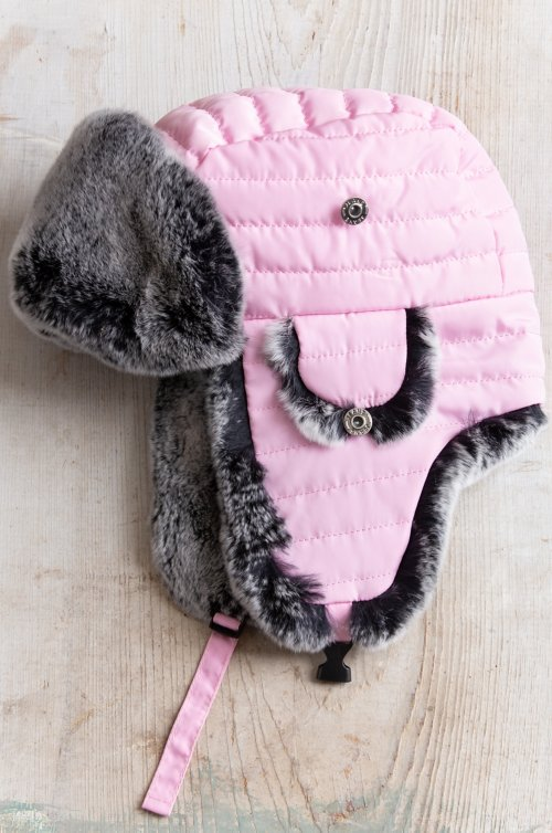 Children's Quilted Trapper Hat with Rex Rabbit Fur