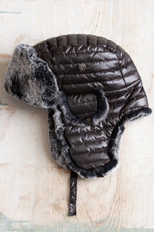Quilted Trapper Hat with Rex Rabbit Fur Lining