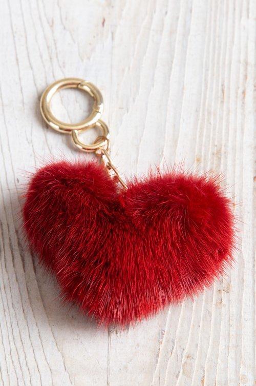 Mink Fur Heart Keychain